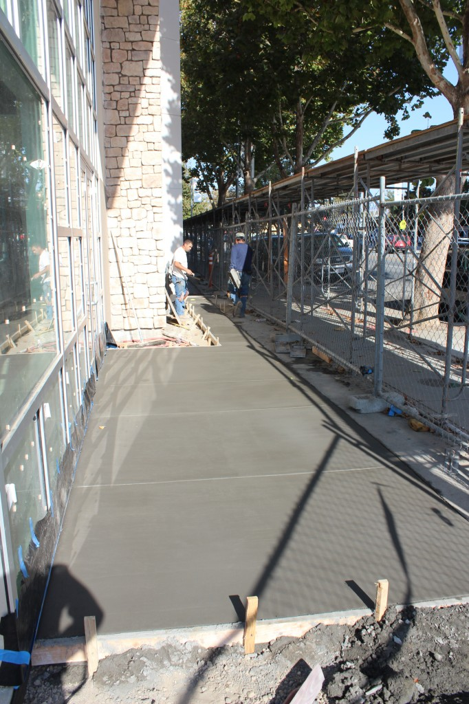 Concrete finishing outside atrium