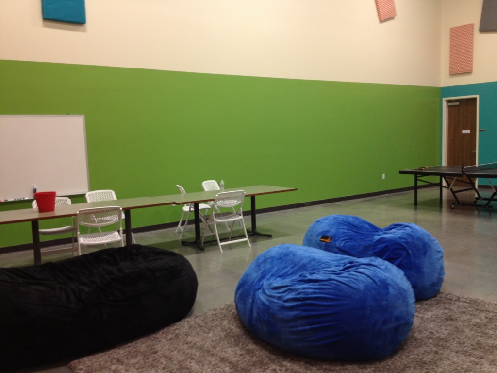 The pictures below show the walls bean bag chairs and ping pong table